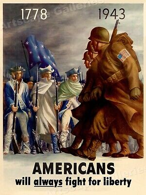 $11.95 • Buy 1940s Americans Will Always Fight For Liberty - WWII US Army Poster - 18x24