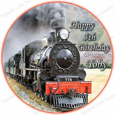 Personalised Steam Train Engine Round Edible Icing Birthday Party Cake Topper • 4.65£