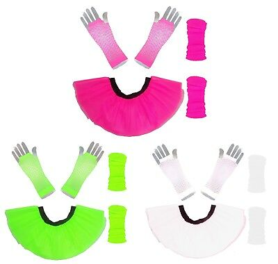 AU12.60 • Buy Neon Pink Tutu Skirt I Love 80's Fancy Dress Hen Party Fun Run Legwarmer Gloves