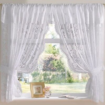 £29.99 • Buy Andrea Jacquard Lace Net Curtain Set In White - Free Postage!