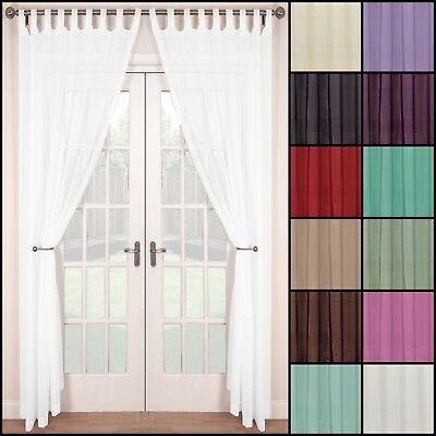 Pair (2 Panels) Of Voile Tab Top Net Curtain Panels - Multiple Colours & Sizes • 10.99£