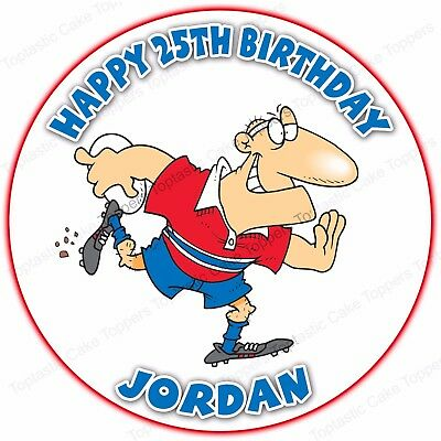 £4.65 • Buy Personalised Rugby Player Sport Round Edible Icing Birthday Party Cake Topper