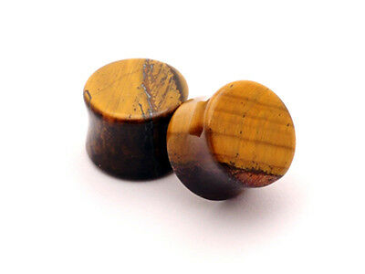 $5.99 • Buy Pair Of Tiger Eye Stone Plugs Set Gauges PICK SIZE Organic