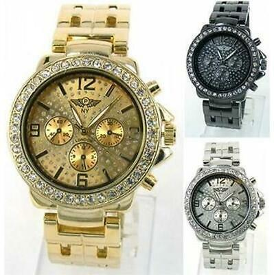 £5.99 • Buy Prince London NY Jewelled Face Bezel Metal Dials Watch Double Strap Stone Set