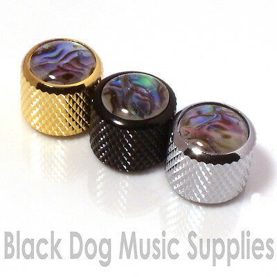 Guitar Control Knob Abalone Inlay In Chrome Black Or Gold For Tone Or Volume  • 4.95£