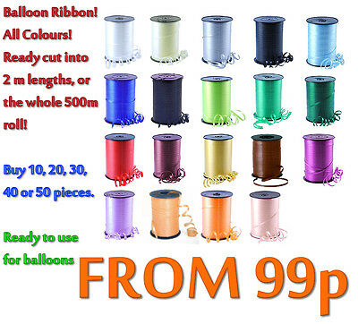 £1.79 • Buy Balloon Curling Ribbon - All Colours - Pre-cut In 2 Mtr Lengths   Or 500 M  Roll