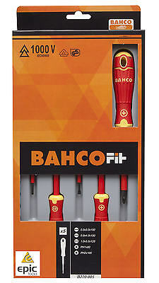 BAHCO FIT 5 Pce Phillips Ph & Slot VDE 1000V Insulated Screwdriver Set, B220.005 • 21.90£