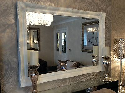 £99.99 • Buy NEW French White Shabby Chic Framed Ornate Overmantle Mirror - CHOOSE YOUR SIZE