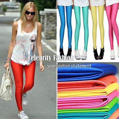 AU12.29 • Buy Ac13 Celeb Style 80s Shiny Neon Metallic Coloured Gym Workout Fitness Leggings
