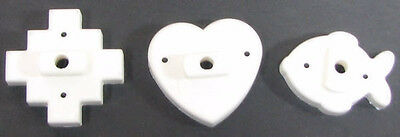 Heart, Fish & Star White With Handle Cookie Cutters EUC #2C • 5.20£