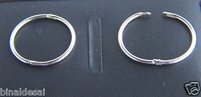 925 Sterling Silver 16mm Plain Half Hinged Hoop Sleeper Earrings Sleepers GIFT N • 9.20£