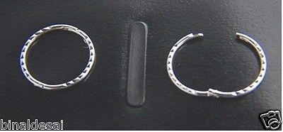 925 Sterling Silver 13mm Diamond D/CUT Small Round Hinged Hoop Sleepers GIFT NEW • 8.99£