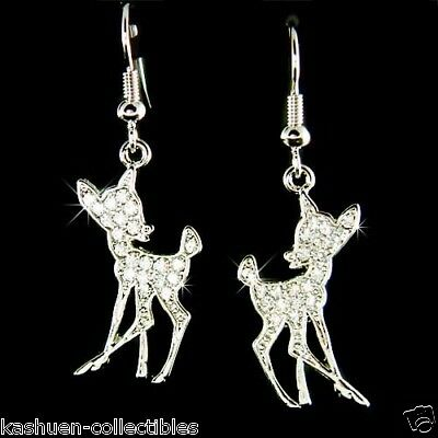 £27.30 • Buy ~Bambi~ Made With Swarovski Crystal Fawn Deer Lover Charm Earrings Xmas Jewelry
