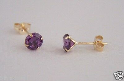 Ladies Girls 9ct Gold 5mm Small Round Amethyst Studs Earrings X'mas GIFT BOX NEW • 15.50£