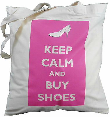 KEEP CALM AND BUY SHOES - NATURAL COTTON SHOULDER BAG - Tote, Shopper, Shopping • 5.99£