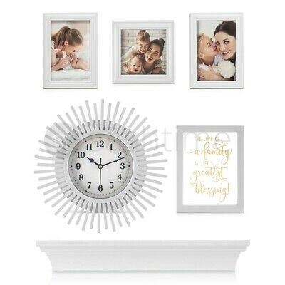 £11.95 • Buy 6Pcs Photo Frame Set W/Clock & Shelf Family Love Picture Party Wall Mounted DIY