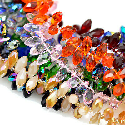 £5.29 • Buy 98x Crystal Glass Teardrop Briolette Top-drilled Faceted Beads Jewellery Making