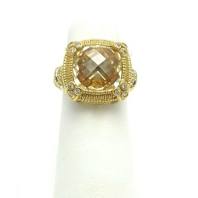 Judith Ripka Couture 18K Gold Cushion Canary And Diamond Ring Sz6 • 965.73£
