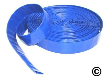 Layflat PVC Water Delivery Hose - Discharge Pipe Pump Lay Flat Irrigation Blue  • 11.59£