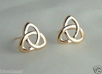 CLASSIC 9ct GOLD CELTIC KNOT STUDS EARRINGS Mums X'mas ANNIVERSARY Mothers GIFT • 24.50£
