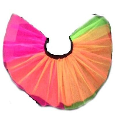 NEON TUTU SKIRT 80s FANCY DRESS HEN PARTY PINK GREEN ORANGE MULTI 4 LAYERS • 9.99£