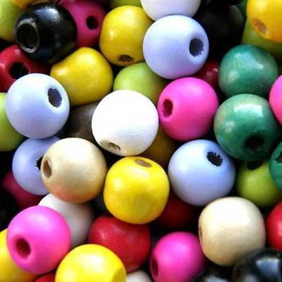 Wooden Round Beads, Pack 100, Choose Colour,  Wood Craft Bead, 12 Mm  • 2.25£