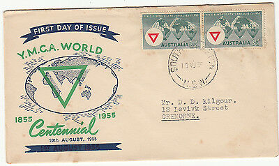 AU35 • Buy Stamp Australia 3&1/2d YMCA On Southern Cross Cover Misplaced Green Error