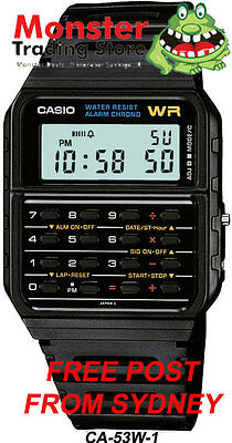 AU39 • Buy CASIO WATCH CALCULATOR VINTAGE RETRO 80's CA-53W-1Z CA53 CA-53 AUSSIE SELLER