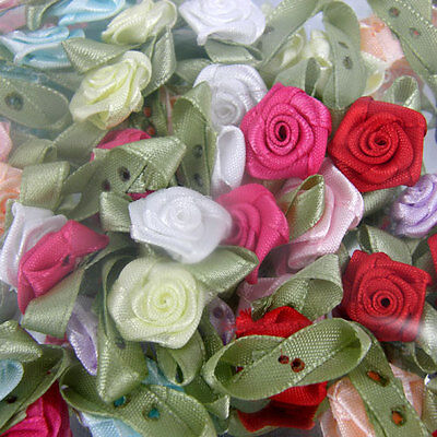 Card Toppers X 100 Satin Roses Rose Buds Rosebuds Wedding Flowers Decoration  • 4.95£