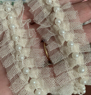 1m Of Cream Lace And Pearl Beaded Trim Ribbon Wedding Bridal  Vintage Inspired  • 2.50£