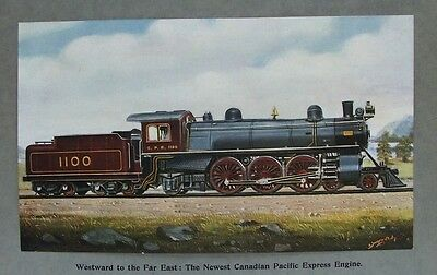 £16.99 • Buy OLD PRINT STEAM TRAIN CANADIAN PACIFIC EXPRESS ENGINE By MOORE C1905 RAILWAY