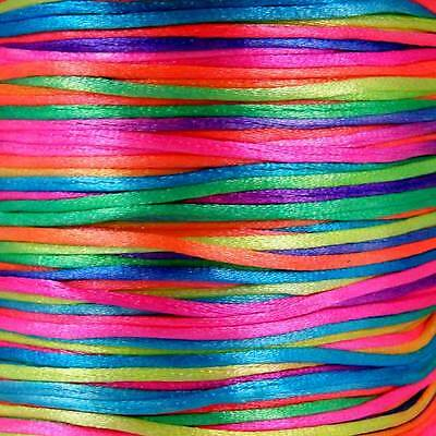 5m SILKY RATTAIL BRIGHT MULTI COLOURED JEWELLERY  String CORD  Approx 1mm MULTI • 1.55£