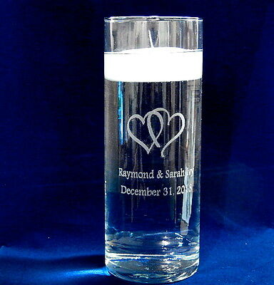 $36.95 • Buy Personalized Glass Unity Candle Vase With Floating Candle And Double Heart Art