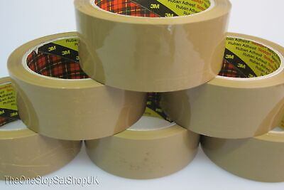 £7.99 • Buy 6 Rolls Of Packing Packaging Tape 3M Scotch Strong Brown Buff 66m X 48mm