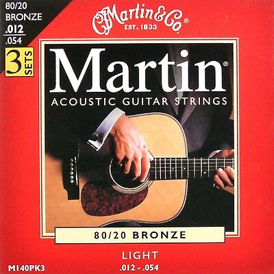 $ CDN25.82 • Buy 3 Sets / Pack  Martin Bronze Acoustic Guitar Strings Light 12-54 UK SELLER