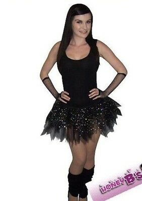 Neon Black Sparkle Tutu Skirt Legwarmer Gloves Gothic 80's Fancy Dress Hen Party • 7.99£