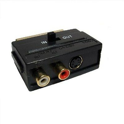 SCART To Twin Phono + SVHS Adaptor With In/Out Switch RCA S-Video GOLD • 2.39£
