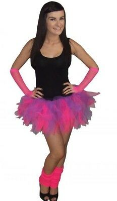 Neon Pink Purple Tutu Skirt Leg Warmer Gloves 80s Fancy Dress 80's Party Costume • 8.99£
