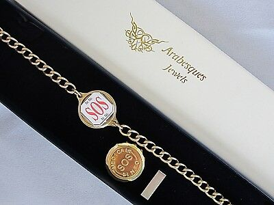 ARABESQUES SOS BRACELET/MEDICAL/EMERGENCY 9ct GOLD PLATED/STAINLESS TALISMAN • 24.99£