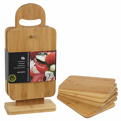 £9.99 • Buy 6pcs Bamboo Chopping Cutting Slicing Boards With Display Stand Fruit Vegetable