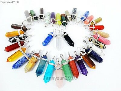 $ CDN1.30 • Buy Natural Gemstones Hexagonal Pointed Reiki Chakra Healing Pendant Charms Beads