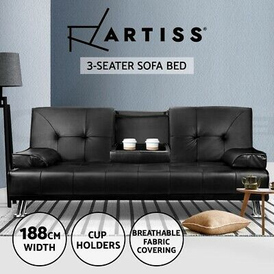 AU379.95 • Buy Artiss Sofa Bed Lounge Futon Couch Leather Beds 3 Seater Cup Holder Recliner