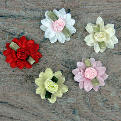 5 Or  25 Double Daisy Pink Red White & Green Leaf Satin Rose Ribbon Ribbon Bows  • 1.95£