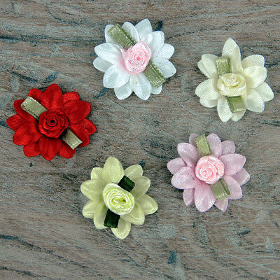 £1.95 • Buy Double Daisy Pink Red White & Green Leaf Satin Rose Ribbon Ribbon Bows