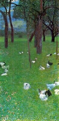 $ CDN60.27 • Buy After The Rain Garden With Chickens In St Agatha By Klimt Giclee Repro On Canvas