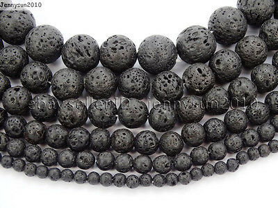 $ CDN1.43 • Buy Natural Black Volcanic Lava Gemstone Round Beads 15.5'' 4mm 6mm 8mm 10mm 12mm