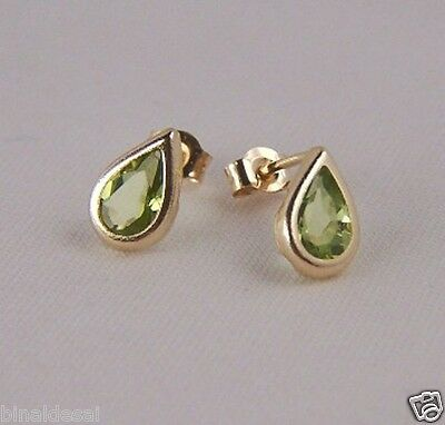Girls Ladies 9ct Gold Small Teardrop Green Peridot Studs Earrings X'mas GIFT BOX • 25.50£
