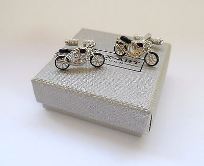£9.49 • Buy  TRADITIONAL MOTOR BIKE  Black & Silver Style Metal CUFF LINKS In A GIFT BOX-NEW