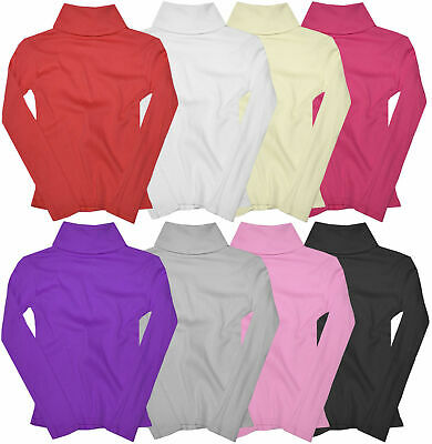 £3.99 • Buy Girls Ribbed Polo Neck Jumper Tops New Baby Kids Long Sleeve Shirt Ages 0 - 14 Y