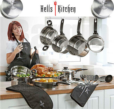 £4.95 • Buy New Hell's Kitchen Stainless Steel Pan Set Non Stick Frying Pan Pans Cookware